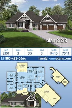 Cozy 3 Bedroom Craftsman House Plan 81218 at Family Home Plans - 3 car garage and bonus over garage - Home Decor -DIY - IKEA- Before After House Plans One Story, Family House Plans, One Story Homes, Ranch House Plans, Bedroom House Plans, Cottage House Plans, New House Plans, Story House, Garage Bedroom