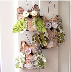 RUSTIC Tree Bark  Owl Ornaments-for you Teri R!