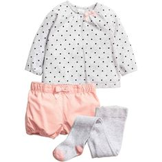 3-piece set ❤ liked on Polyvore featuring white jersey