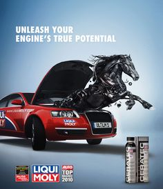 This ad semiotically is saying something. The horse symbolizes power. So the horse coming out of the engine means the engine is powerful.