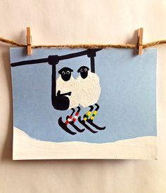 Items similar to Skilift Sheep -Hand Painted Holiday Card on Etsy Holiday Cards, Sheep, Skiing, Snoopy, Hand Painted, Holidays, Etsy, Painting, Character