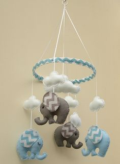 Chevron bleu/gris éléphant Mobile  bébé  enfants par FlossyTots, £59.99