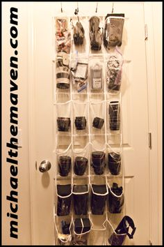 Organize your camera gear - behind the door shoe organizer.