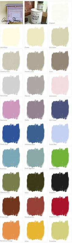 CHALK PAINT :: Annie Sloan Chalk Paint Color Swatches (missing Napoleonic Blue...a dark blue)