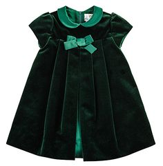 Welurowe cudeńko! / Florence Eiseman Baby Girls Emerald Green Velvet Christmas Dress
