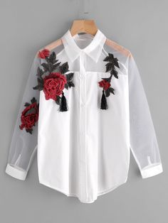 Shop Appliques Tassel Detail Shirt With Sheer Mesh Panel online. SheIn offers Appliques Tassel Detail Shirt With Sheer Mesh Panel & more to fit your fashionable needs. Teen Fashion Outfits, Trendy Outfits, Fashion Clothes, Girl Fashion, Cool Outfits, Fashion Dresses, Womens Fashion, Fashion Black, Fashion Ideas