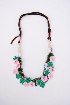 Hand crocheted Statement necklace in Emerald and Pink