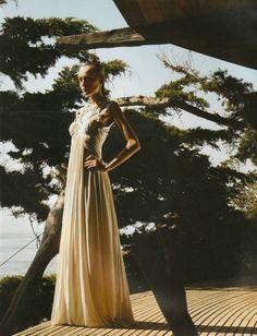 Snejana Onopka in 'Le Credo du Soir (The Creed of Evening)'  Photographer: Mario Sorrenti  Dress: Alexander McQueen S/S 2006  Vogue Paris February 2006