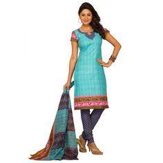 Blue Colored Cotton Printed Un-Stitched Salwar Kameez FABFKSDR12022MP - Salwar Suit by Fashionic