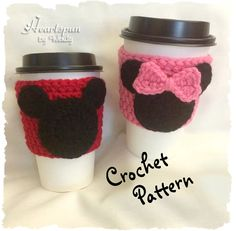 CROCHET PATTERN (Digital File containing instructions) for you to make a cute Mickey Mouse and Minnie Mouse Coffee or Tea Cup Cozy... AND, you can also use the pattern to make a Mickey or Minnie Applique that can be added to ANY item you make!  **** This is a CROCHET PATTERN and NOT the finished item. ****  **IF YOU WANT TO BUY THE FINISHED ITEM, look in my Etsy shop kitchen and bath section. If you do not see what you are looking for, just ask! I can make what you are looking for…