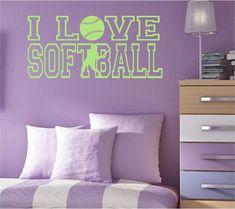 I LOVE SOFTBALL with Softball Player Vinyl Wall by NewWaveSigns