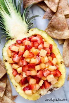 pineapple salsa with cinnamon tortilla chips. A family friendly snack or appetizer! pineapple salsa with cinnamon tortilla chips. A family friendly snack or appetizer!pineapple salsa with cinnamon tortilla chips. A family friendly snack or appetizer! Fruit Recipes, Summer Recipes, Appetizer Recipes, Cooking Recipes, Appetizers, Cooking Food, Picnic Recipes, Salad Recipes, Easy Cooking