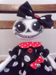 Hand Made Cloth  Art Doll  - Spooky Sukie - Lil Gothic Horror  by Crow House..