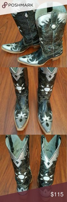 LEATHER Crackled COWGIRL BOOTS!!! Very unique design, all leather, all wood heel. Worn twice, excellent condition, very cute boot! Couple little scratches on tip of toes. Not noticeable, the boot needs no caption. Amazing Boot!!! Shoes Heeled Boots