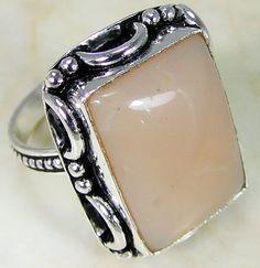 Pink Opal & 925 Silver Handmade Elegants Ring Size R & gift-box