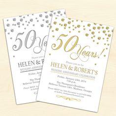 50th Wedding Anniversary Invitation / Confetti / Gold / White / Digital Printable Invitation / Customized by TheStarDustFactory on Etsy https://www.etsy.com/listing/201398866/50th-wedding-anniversary-invitation