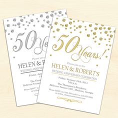 50th Wedding Anniversary Invitation / Confetti / Gold / White / Digital Printable Invitation / Customized by TheStarDustFactory on Etsy https://www.etsy.com/listing/201398866/50th-wedding-anniversary-invitation