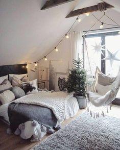 Beautiful grey room with swing chair ❤️