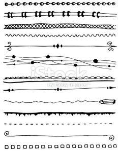 Hand-drawn line border set Royalty Free Stock Vector Art Illustration