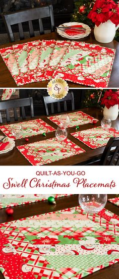"""These fun placemats, featuring the Swell Christmas collection by Moda, brings a perfectly vintage look and feel to your home. Bring your Christmas dinner placesettings back to the 50's with the soft color palette, featuring rosy Santa faces and holly berries! The preprinted batting makes this project quick and easy to complete - perfect for beginners!   Placemats measure approximately 13"""" x 18""""."""