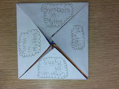 Foldable for the elements of a myth (lots more pictures in post, as well as directions for making it)