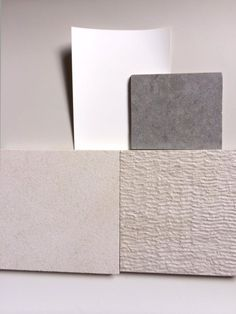 Lower bath --change texture for large format floor tile. Use smooth large format on walls. Pale grey vanity, Atrium white walls, Pebble Caesarstone counter