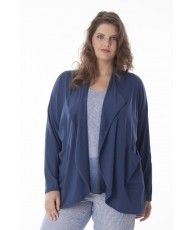 Open cardigan from fluid viscose jersey with long sleeves and pockets in front