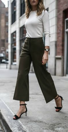 wide leg cropped olive pants, ankle length culottes, classic ivory ribbed light sweater with button shoulder detail, tie ankle strap heeled sandals, classic work wear / office style