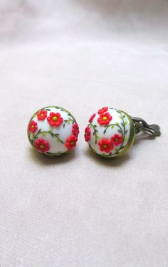Red flower spring garden Cabochon Clip on Earrings by Lena Handmade Jewelry Polymer clay Embroidery / Applique