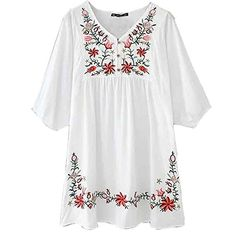 White Mexican Embroidered Peasant Blouse Womens Dressy Tops Vintage Blouses Ashir Aley http://www.amazon.com/dp/B00VFSRQSA/ref=cm_sw_r_pi_dp_ukypvb0S5YP5G