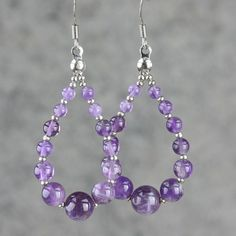 The teardrop loop earrings are handmade using gemstone amethyst. Amethyst. Free US shipping. Customers who purchased this item said: Happy with my purchase, thank you very much! The birthstone of February, is a stone of the mind. It helps to bring calmness and clarity. Wear