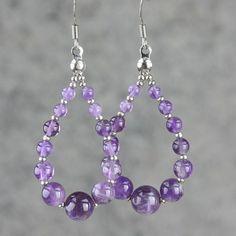 Amethyst tear drop loop hoop earrings handmade by AniDesignsllc, $12.95