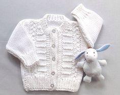 Blanco Rebeca bebé - 0 - 6 meses - regalos de bautismo Rebeca - suéter hecho punto del bebé - bebé - ropa de bebé