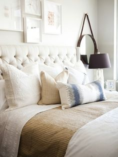 I need to get the hang of making my bed this way, I need two or three colors between sheets and two blankets  South Shore Decorating Blog: Neutral Rooms