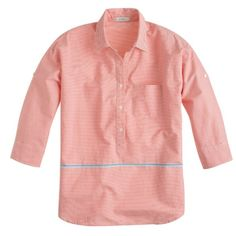 J. Crew popover J. Crew Boyfriend Popover in placed stripe. Classic popover with slightly boxy dropped-shoulder shape. Cotton. Three-quarter sleeves. Chest pocket. Functional buttons at cuffs. Excellent condition, never worn. Size 00. J. Crew Tops