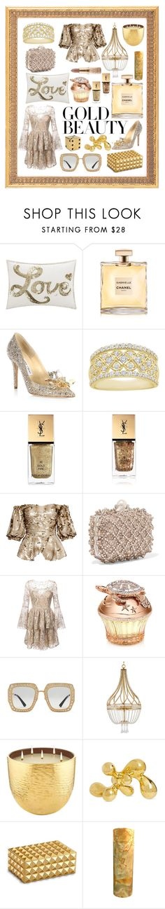 """Untitled #271"" by shoultesshark ❤ liked on Polyvore featuring Jan Constantine, Chanel, Jimmy Choo, Yves Saint Laurent, Anouki, Notte by Marchesa, House of Sillage, Gucci, AERIN and Jonathan Adler"