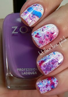 """3-Step """"Splatter Manicure"""". Artistic results but very messy to DIY. You'll need a very small straw or coffee stir. 1. Paint nails base color 2.Dip straw in varied nail polish bottles 3. BLOW  P.s wear clothes you dont mind getting nail polish on."""
