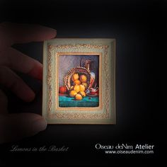 Miniature Painting Prints Picture Frame Still Life-Lemons in the Basket Genre: still life Dimensions: Material:resin, plaster, paper, patina Painting Frames, Painting Prints, Antique Frames, Painting Still Life, Print Pictures, Picture Frames, Miniatures, Basket, Antiques