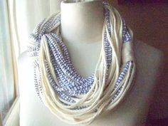 Necklace/scarf, AFRICAN DREAM  -   t-shirt yarn, recycled yarn,  in ivory and striped white, black and gray colors.