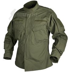 Olive CPU Shirt from Helikon-Tex. Heavy wearing & comfortable, with 2-way front zipper, 6 pockets, elbow patch reinforcements on each arm & soft Velcro plates for attachment of patches. Available along with matching cargo trousers.
