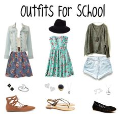 """""""Outfits For School"""" by xxxwonderlandxxx ❤ liked on Polyvore featuring Kate Spade, Levi's, Coldwater Creek, Lucky Brand, Liliana, Xhilaration, Maison Michel, Sambag, Armenta and Vivienne Westwood"""