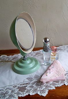 vintage jadeite makeup mirror