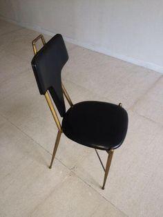 Gio Ponti 1950's Brass Leather Side Chair on Chairish.com