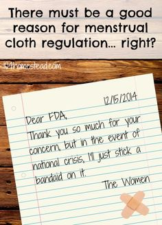 A humorous look into why the FDA has decided to crack down on mama cloth manufacturers. They must have a good reason for regulating these items, right? Healthy Lifestyle Tips, Healthy Tips, How To Stay Healthy, Health And Wellness, Health And Beauty, Health Care, Mama Cloth, Big Government, Spiritual Health