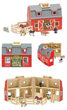 """{Fold & Go Barn} Young MacDonalds will enjoy """"down on the farm"""" fun with this fully assembled, wooden barn. Two-story barn is stocked with seven realistic plastic farm animals, a wooden ladder and a folding corral. Chunky handles let you take your bit of """"country"""" wherever you go!"""