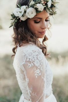 boho bride with green and white flower crown