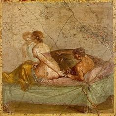 A fresco showing lovers on a bed, found in Pompeii
