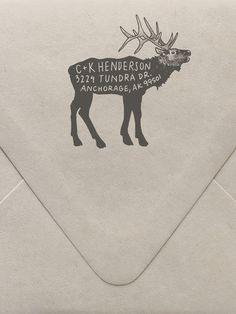Elk Return Address Custom Stamp- so cool~