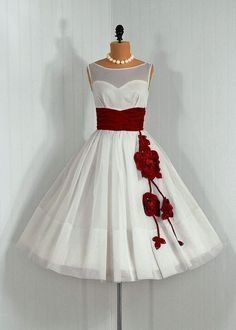 Vintage style white dress with red flower and sash detail - WOW!!