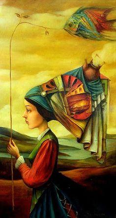 Surrealism and Visionary art: Boris Shapiro Art And Illustration, Illustrations, Magic Realism, Realism Art, Fantasy Kunst, Fantasy Art, Surrealism Painting, Jewish Art, Visionary Art